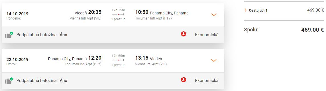 PANAMA S TURKISH AIRLINES - Spiatočné letenky z Viedne od 469 eur
