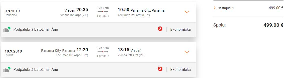 PANAMA S TURKISH AIRLINES - Spiatočné letenky z Viedne od 499 eur