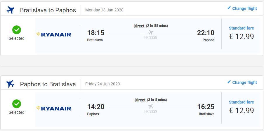 Paphos z Bratislavy s letenkami od 26 eur