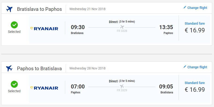 Paphos z Bratislavy s letenkami od 34 eur