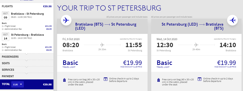 Petrohrad z Bratislavy s novou linkou let.spoločnosti Wizzair. Spiatočné letenky od 40 eur