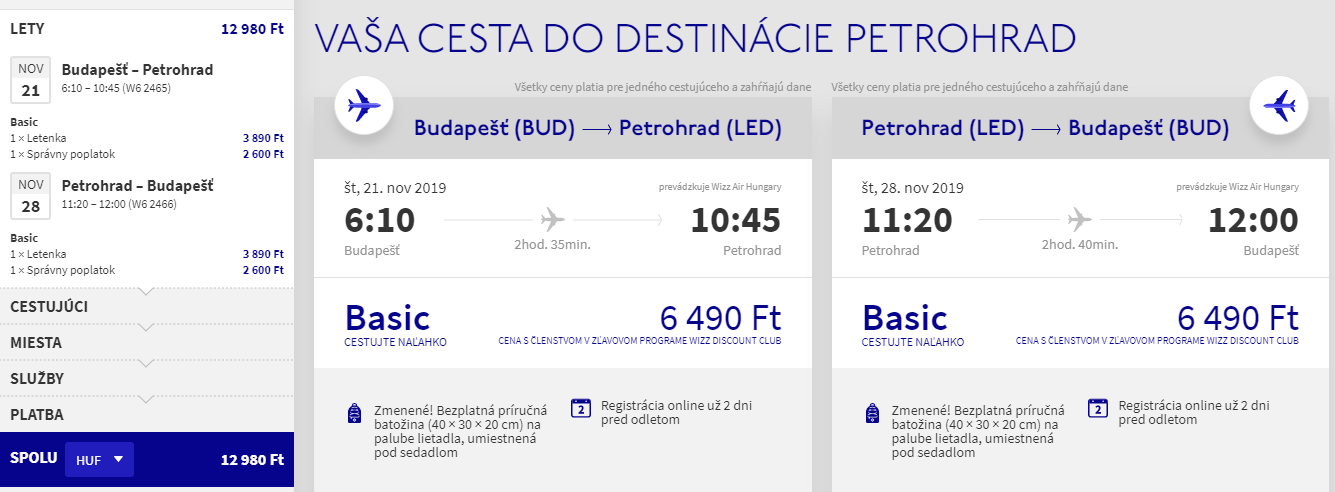 Petrohrad z Budapešti s letenkami od 39 eur