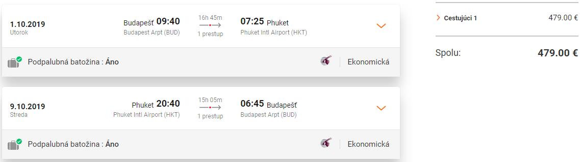 Phuket z Budapešti s letenkami od Qatar Airways od 479 eur