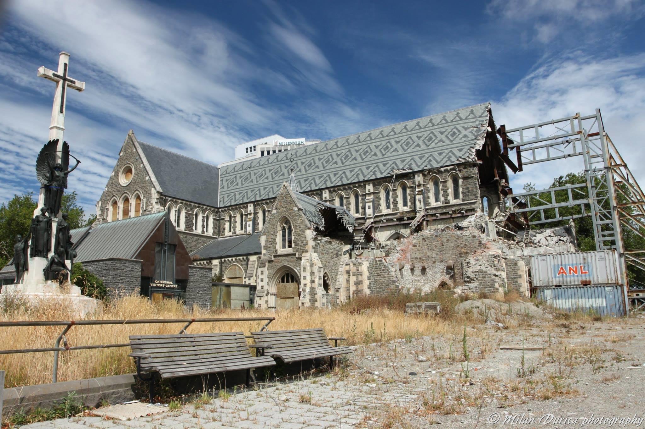Poškodený kostol v Christchurch