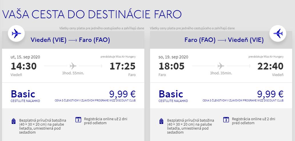 Portugalské Faro koncom leta. Spiatočné letenky z Viedne už od 20 eur