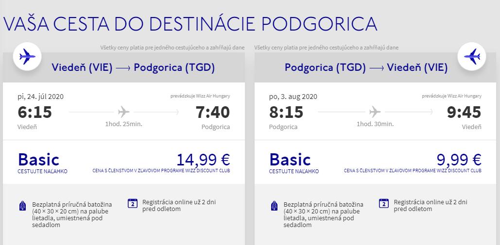 Prázdninová Čierna Hora. Podgorica z Viedne s letenkami od 25 eur