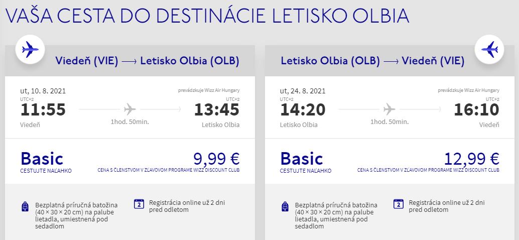 Prázdninová Sardína - Olbia z Viedne s letenkami od 23 eur