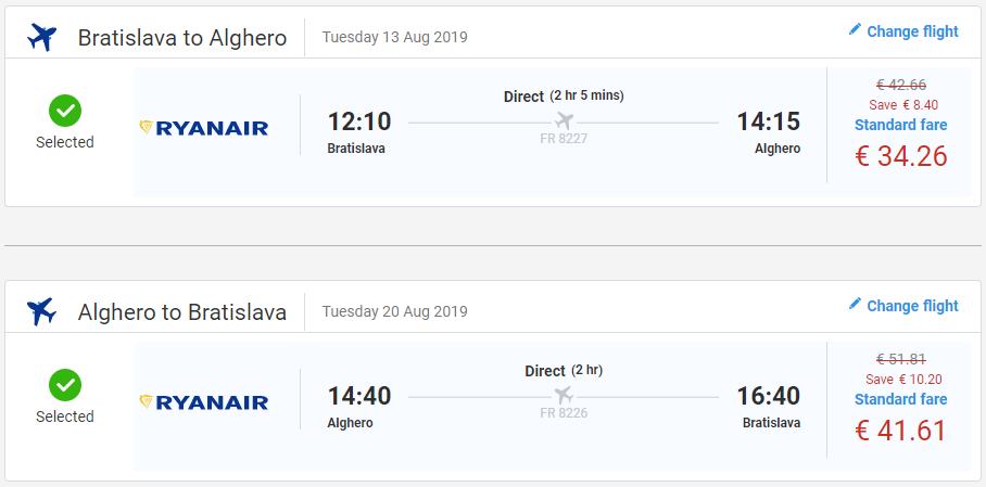 Prázdninová Sardínia z Bratislavy s letenkami od 75 eur