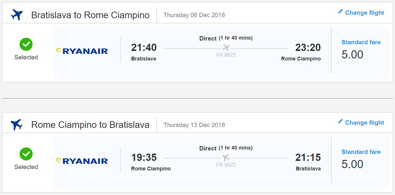 Predvianočný Rím z Bratislavy. Spiatočné letenky od 10€