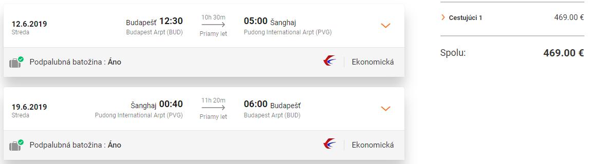 Priame lety z Budapešti do Šanghaja od 469 eur