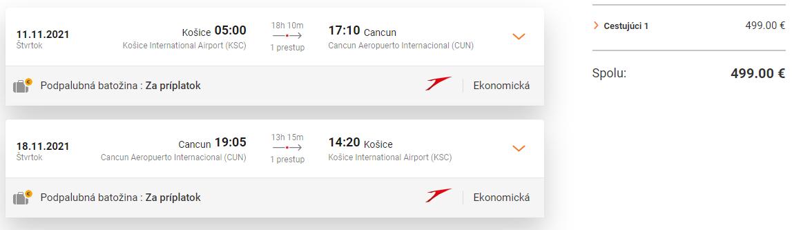 Priame lety z Košíc do Cancunu od 499 eur