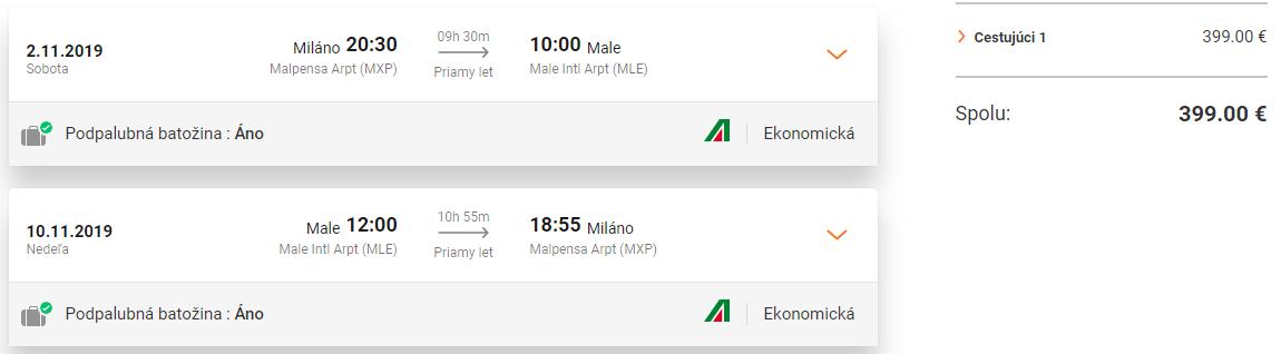 Priame lety z Milána do Male už od 399 eur