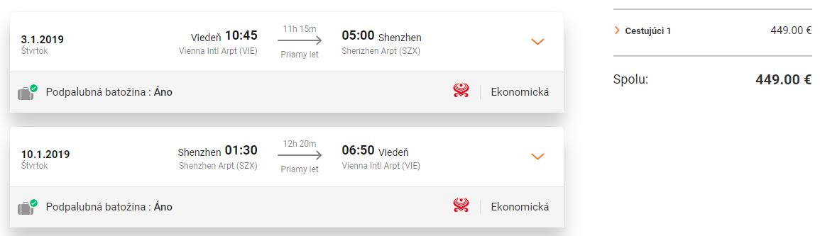 Priame lety z Viedne do čínskeho Šen-čenu od 449 eur
