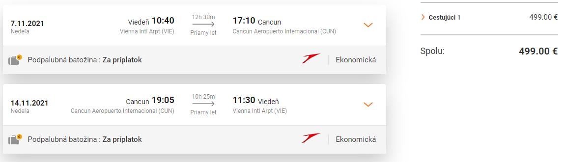 Priame lety z Viedne do Cancunu od 499 eur