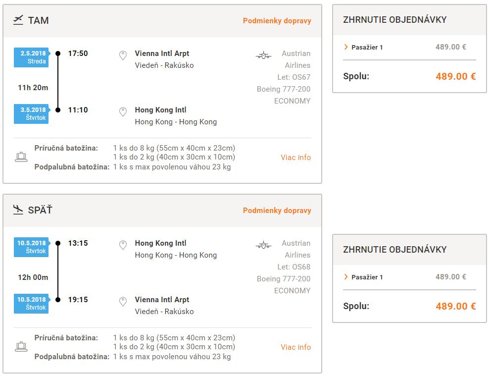 Priame lety z Viedne do Hong Kongu od 489 eur