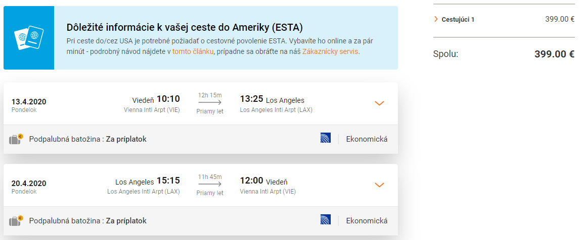Priame lety z Viedne do Los Angeles s Austrian Airlines už od 399 eur