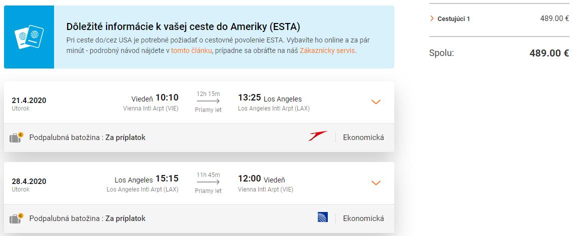 Priame lety z Viedne do Los Angeles s Austrian Airlines už od 489 eur