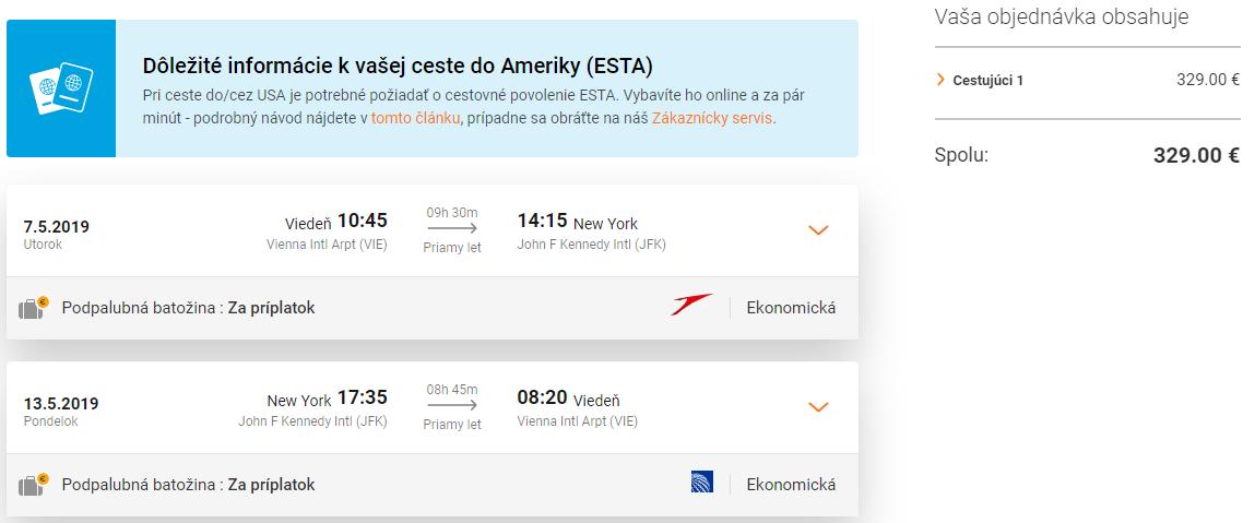 Priame lety z Viedne do New Yorku s Austrian Airlines od 329 eur