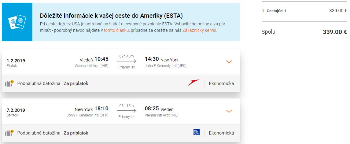 Priame lety z Viedne do New Yorku s Austrian Airlines od 339 eur