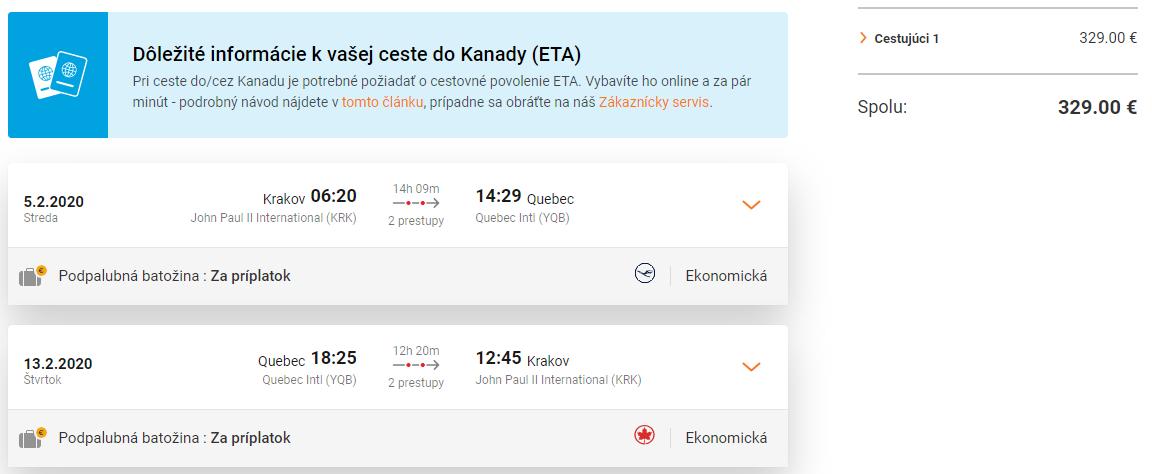 Quebec z Krakova s letenkami od 329 eur