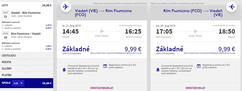 Rím z Viedne v augustových termínoch od 20 eur