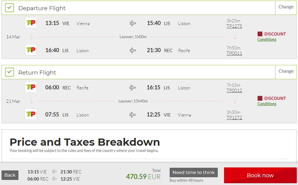Recife z Viedne s letenkami od TAP Portugal už od 471 eur