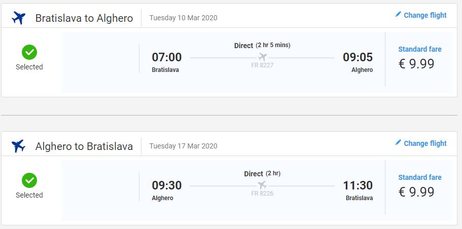 SARDÍNIA - Alghero z Bratislavy v marcových termínoch od 20 eur