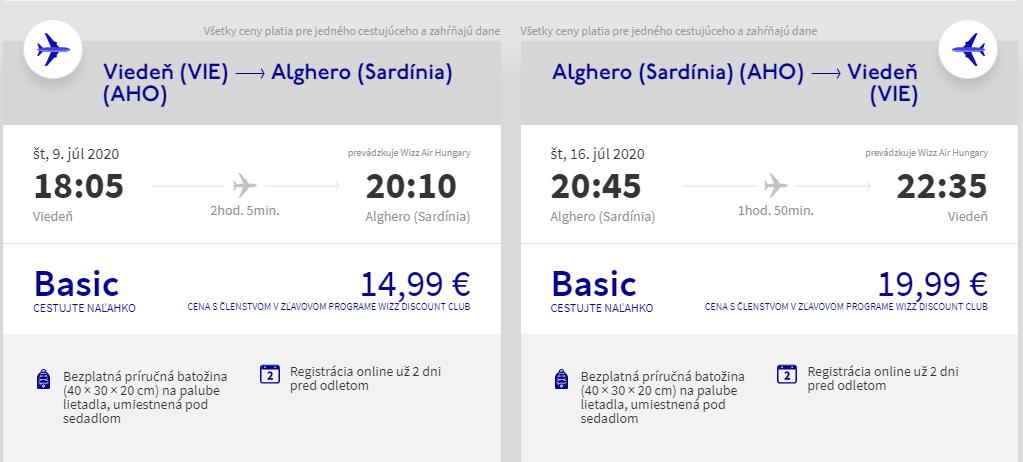 SARDÍNIA - Alghero z Viedne začiatkom letných prázdnin od 35 eur