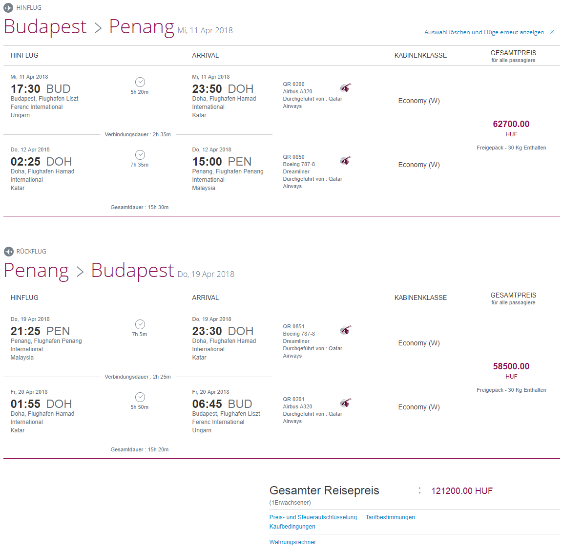 S Qatar Airways do Malajzie. Ostrov Penang z Budapešti s letenkami od 389 eur