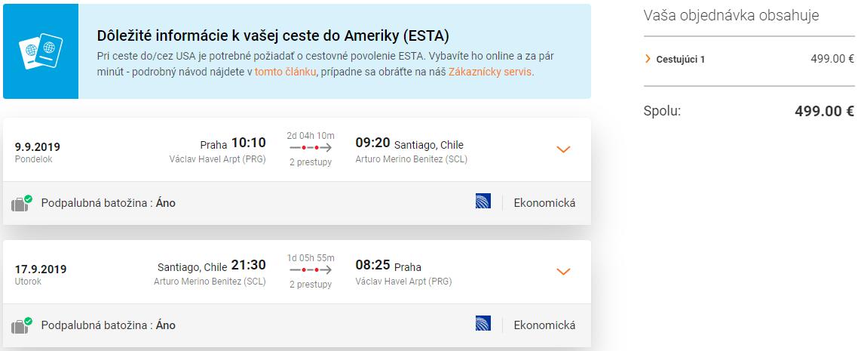 Santiago de Chile z Prahy s letenkami od 499 eur