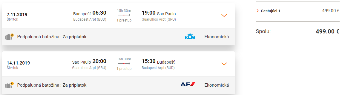 Sao Paulo z Budapešti s letenkami od 499 eur