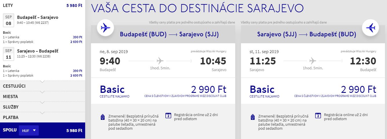 Sarajevo z Budapešti v termínoch koncom leta s letenkami od 18 eur