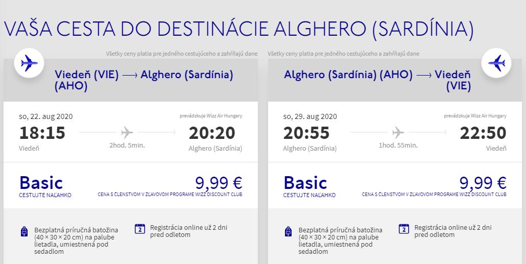 Sardínia koncom prázdnin. Alghero z Viedne s letenkami už od 20 eur