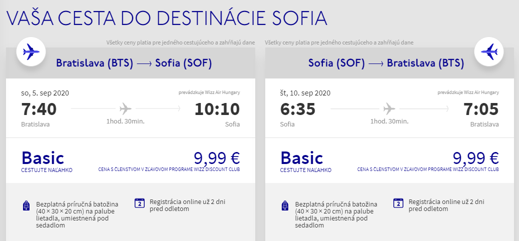 Sofia koncom leta. Spiatočné letenky z Bratislavy od 20 eur