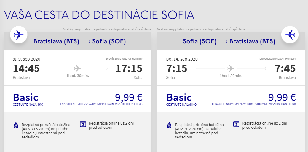Sofia z Bratislavy v septembrových termínoch s letenkami od 20 eur