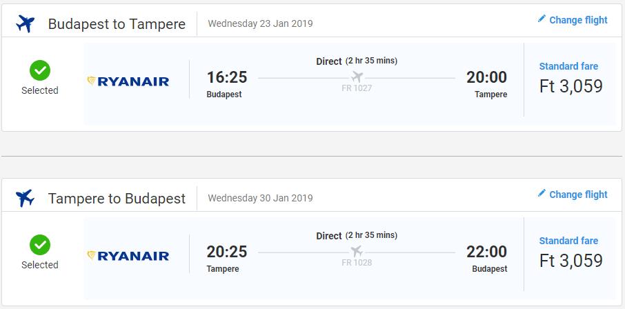 Spiatočné letenky Budapešti do Tampere od 19 eur