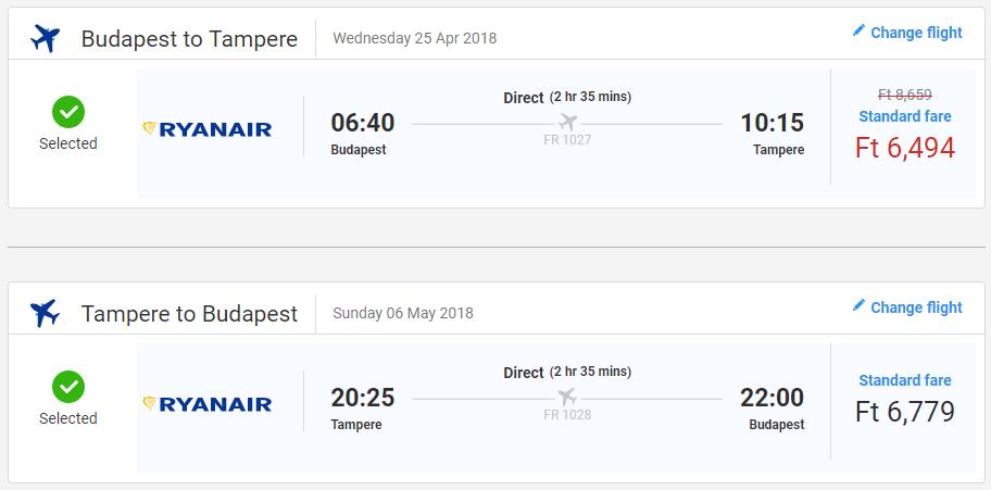 Spiatočné letenky Budapešti do Tampere od 42 eur