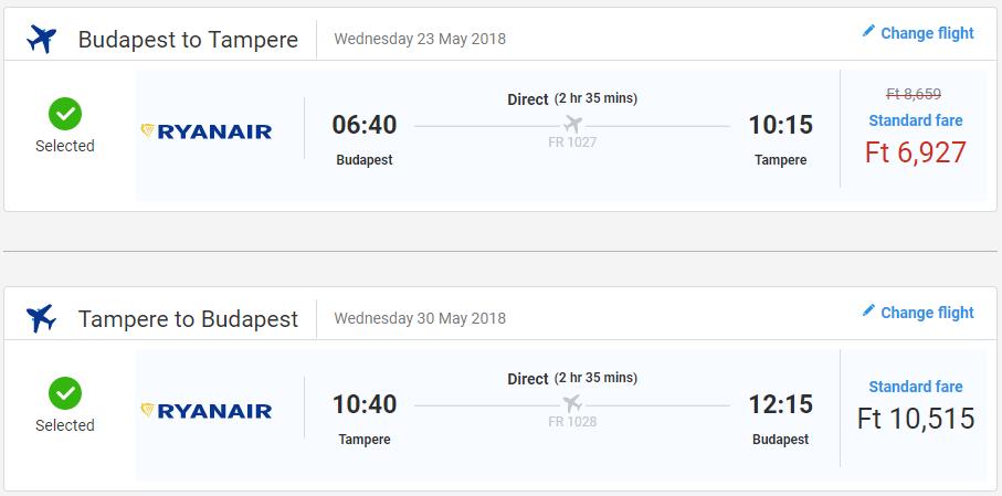 Spiatočné letenky Budapešti do Tampere od 56 eur