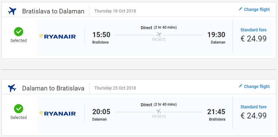 Spiatočné letenky do Dalamanu v októbrových termínoch od 50 eur