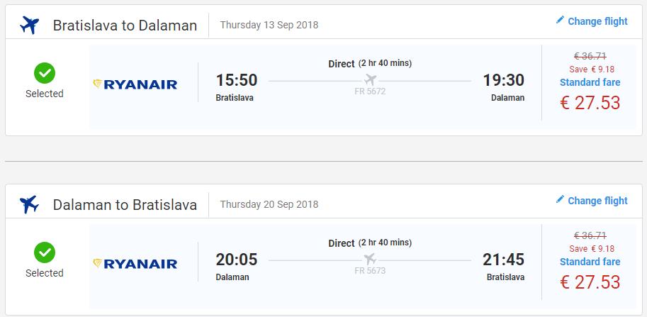 Spiatočné letenky do Dalamanu v septembrových termínoch od 55 eur