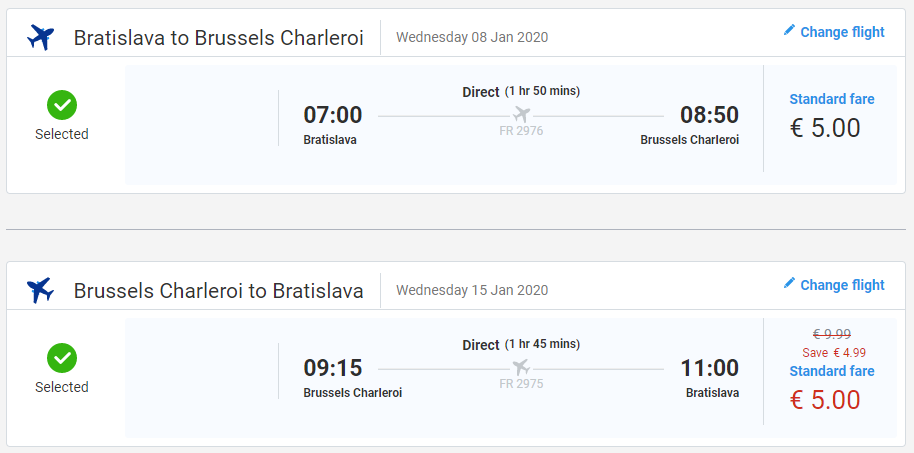 Spiatočné letenky z Bratislavy do Bruselu (letisko Charleroi) od 10 eur