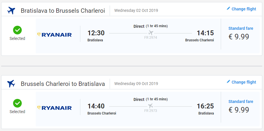 Spiatočné letenky z Bratislavy do Bruselu od 20 eur