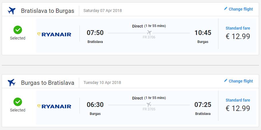 Spiatočné letenky z Bratislavy do Burgasu od 26 eur