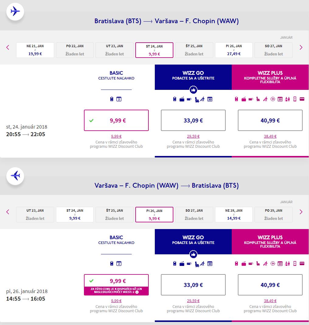Spiatočné letenky z Bratislavy do Varšavy už od 20 eur