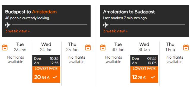 Spiatočné letenky z Budapešti do Amsterdamu od 33 eur