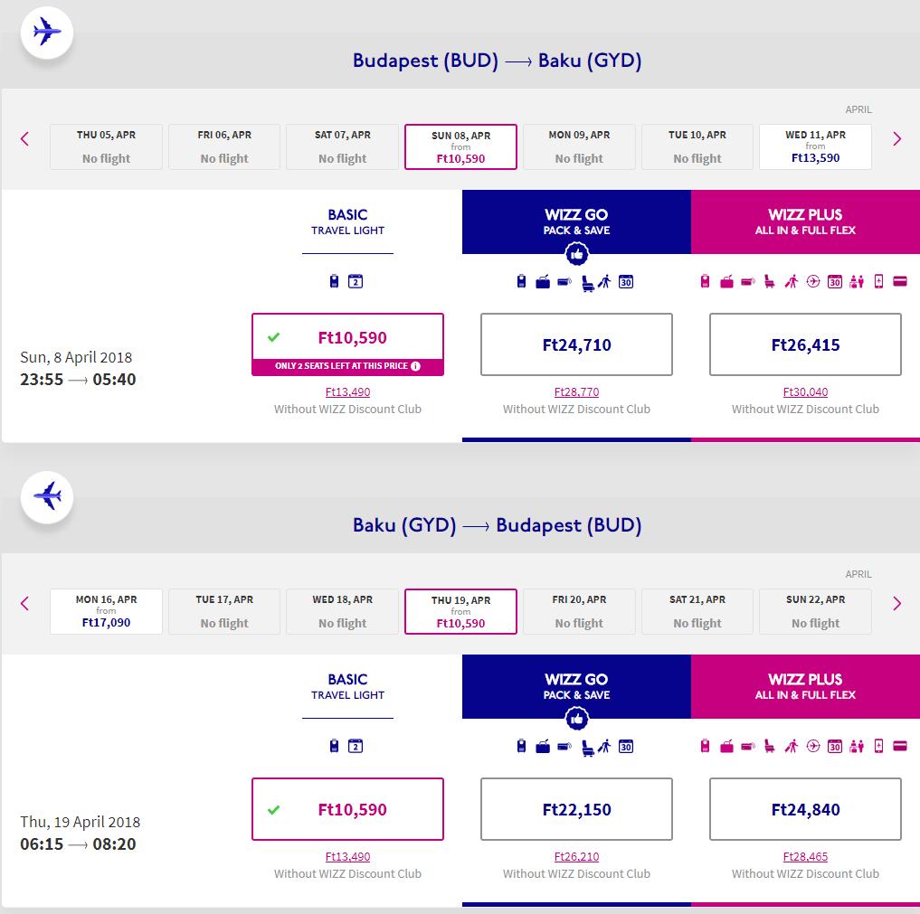 Spiatočné letenky z Budapešti do Baku od 59 eur