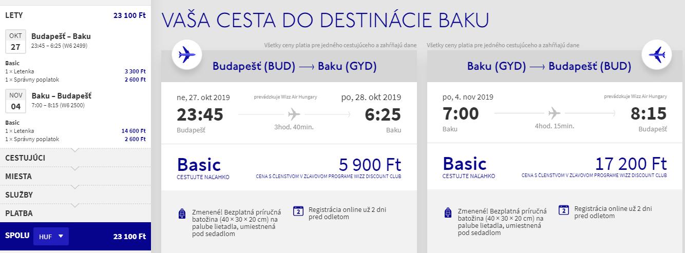 Spiatočné letenky z Budapešti do Baku od 70 eur