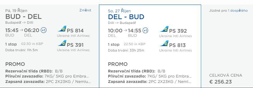 Spiatočné letenky z Budapešti do Dillí od 256 eur