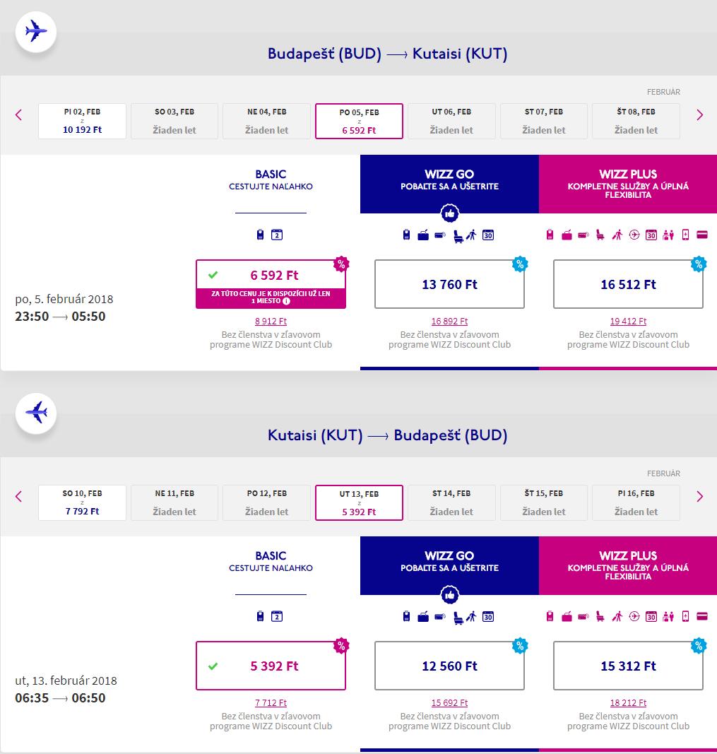 Spiatočné letenky z Budapešti do gruzínskeho Kutaisi od 38 eur