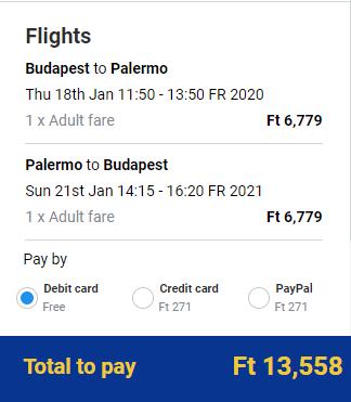 Spiatočné letenky z Budapešti do Palerma od 43 eur